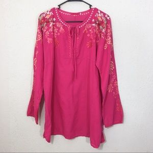 Johnny Was Tunic Pink Embroidered Long Sleeve L